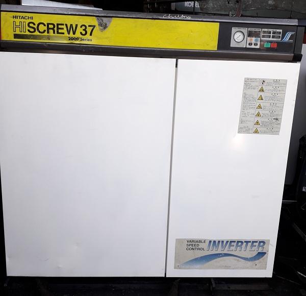 máy nén khí trục vít cũ Hitachi 37 kw trục vít ngâm dầu có sấy