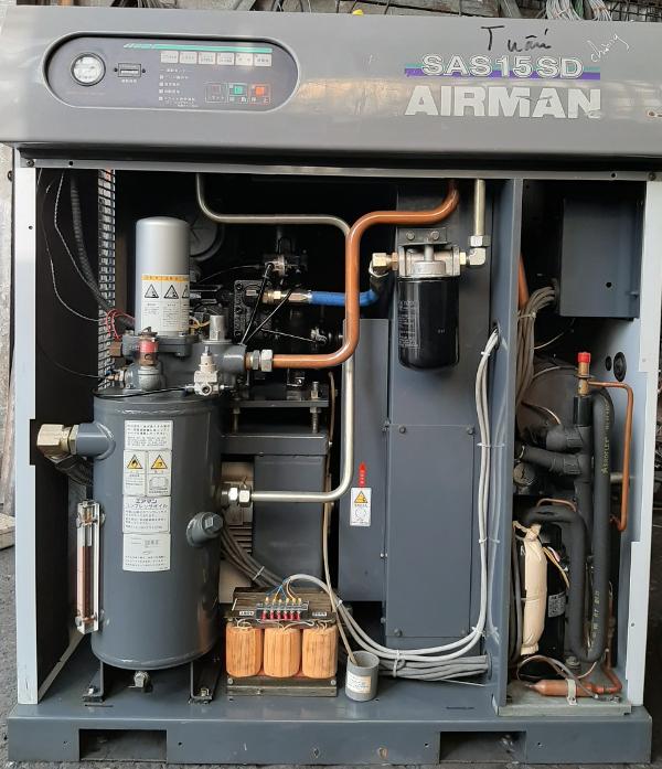 bán máy nén khí cũ airman 15 kw 20 Hp hàng bãi