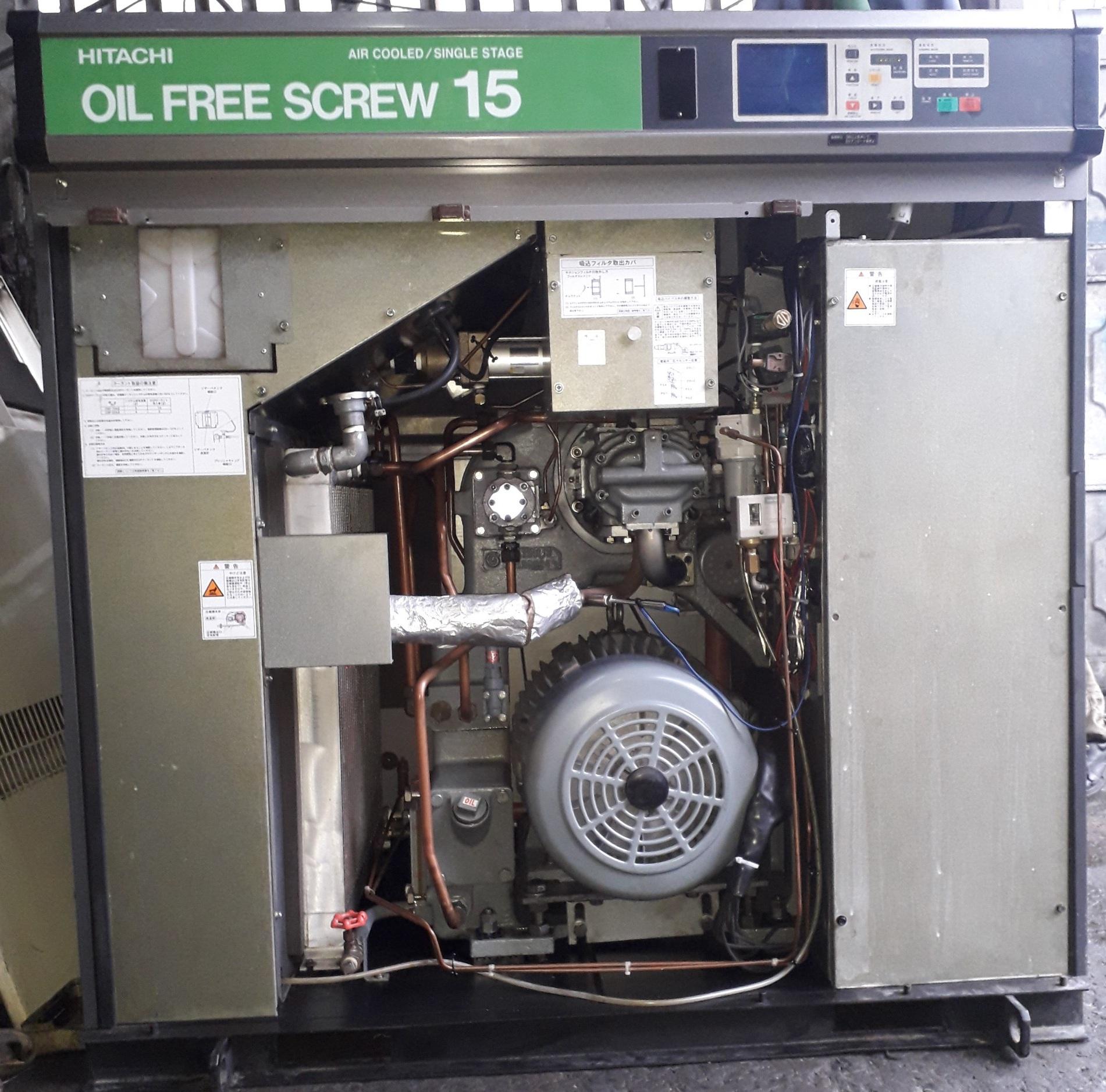 máy nén khí không dầu Hitachi Nhật bãi 15 kw, khí sạch giá rẻ