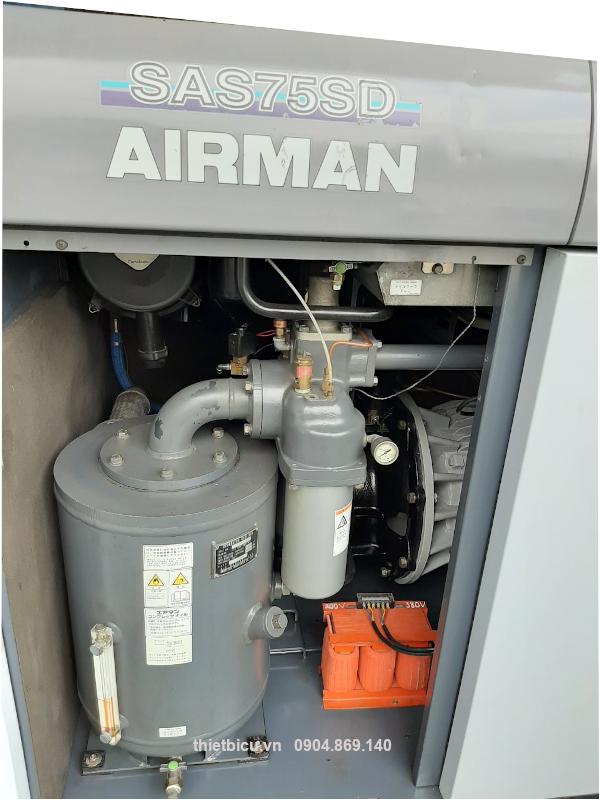 used screw air compressor japan hàng Nhật bản 75 kw máy nén khí trục vít