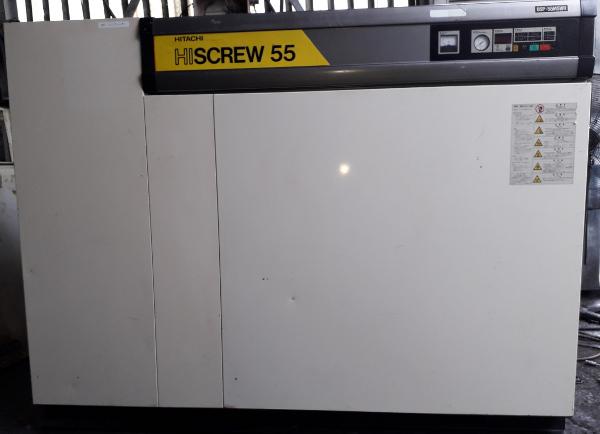 bán máy nén khí trục vít cũ Hitachi Nhật bản, 55 kw, có tách ẩm, làm mát bằng nước