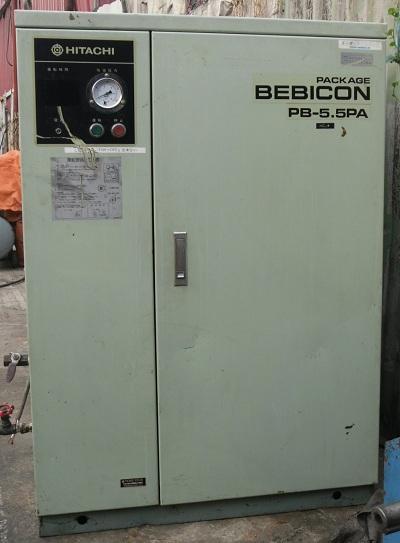 Máy nén khí Hitachi cũ có thùng cách âm công suất 5.5kw