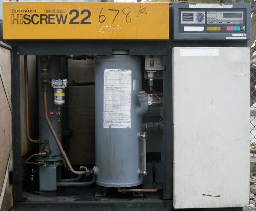 Máy nén khí trục vít hitachi có thùng cách âm công suất 22kw