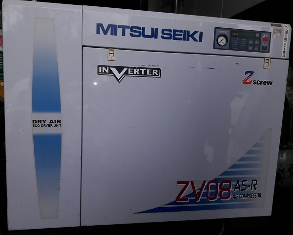 máy nén khí trục vít mitsui seiki  zv08 as-r dùng bến tần