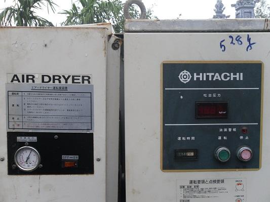 máy nén khí hitachi có bộ phận làm khô, máy nén khí công suất cao nhật bản, máy nén khí cũ, may nen khi cu, may nen khi hitachi 11Kw