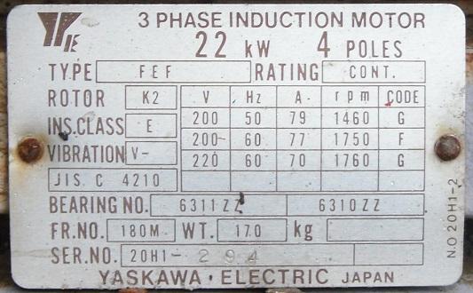 Động cơ điện cũ Nhật Bản, động cơ yaskawa cũ, dong co dien 3 pha cu